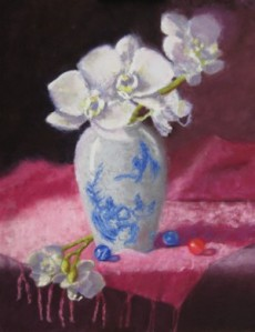 """Orchids and Marbles"", soft pastel, 11""x14"", 2014"