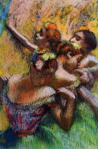 Four Dancers, Edgar Degas, pastel, 1902.  Private Pastel Collection.