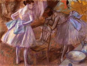 Two Dancers in Their Dressing Room, Edgar Degas, pastel, 1880.  National Gallery, London, UK.